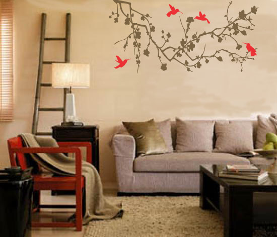 Extra Large Humming Birds On Branches 1200 x 600 mm